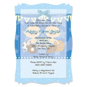 Twin All Stars - Personalized Baby Shower Vellum Overlay Invitations