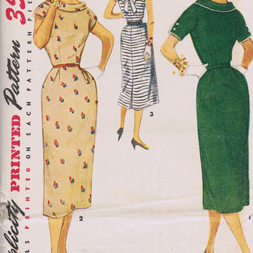 1950's Wiggle Dress Sewing Pattern, Simplicity 4602, Factory Folded Uncut