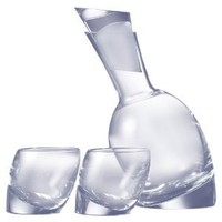 Nambé Tilt Decanter Set with 2 Double Old-Fashioned Glasses