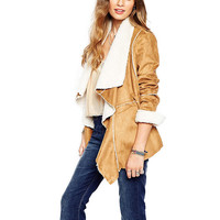 Khaki Long Sleeve Waterfall Asymmetric Lapel Coat