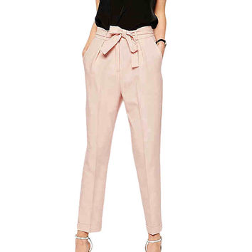 Cropped Harem Pants in Pink