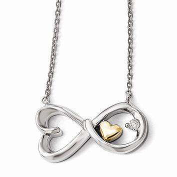 Sterling Silver & 14k Two-tone Gold Arms Of Love Diamond Necklace