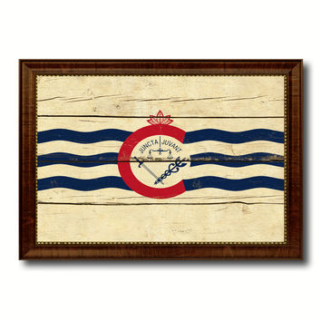 Cincinnati City Ohio State Vintage Flag Canvas Print Brown Picture Frame