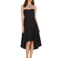 White House | Black Market Strapless High-Low Lace Fit and Flare Dress