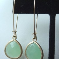 Gold Filled Green Jade Glass Stone Earrings, Bridesmaids Earrings, Bridesmaids Gift, Bohemian