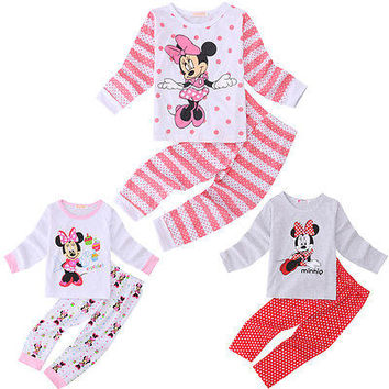 2016 Cartoon Kids Pajamas Set Cute Minnie Mouse Baby Kids Girls Pajamas Set Long Sleeve Sleepwear Tops+Pants Size 2T-6T