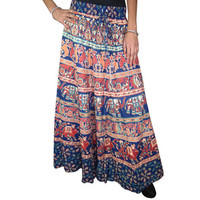 Mogulinterior Boho Maxi Skirt Animals Cotton Printed Blue Peasant Hippie Womens Skirts