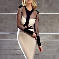 Fornarina Black Cut Out Mesh Sleeve Beige Bandage Dress