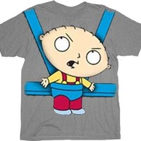 Family Guy Stewie Baby Bjorn Carrier Gray Adult T-Shirt  - Family Guy - | TV Store Online