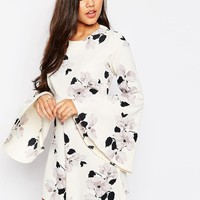 ASOS | ASOS Occasion Floral Print Romper with Flare sleeves at ASOS