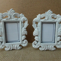 White Picture Frame Set Shabby Chic Wedding Table Number Place Card Decoration Ornate Baroque French Country Beach Cottage Paris Photo Decor