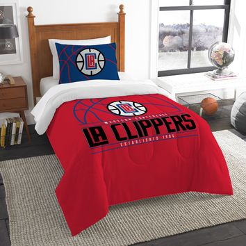 """Clippers OFFICIAL National Basketball Association, Bedding, """"Reverse Slam"""" Printed Twin Comforter (64""""x 86"""") & 1 Sham (24""""x 30"""") Set  by The Northwest Company"""
