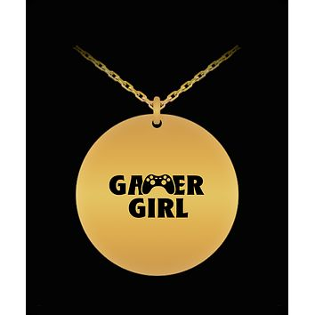 Gamer Girl Video Game Player Cool 18K Gold Plated Chain
