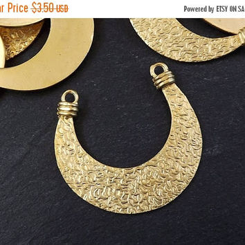 SUMMER SALE NEW Double Sided Tribal Crescent Pendant Connector 22k Matte Gold Plated Turkish Jewelry Making Supplies Findings Components - 1