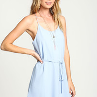 BLUE MINIMALIST RACERBACK DRESS