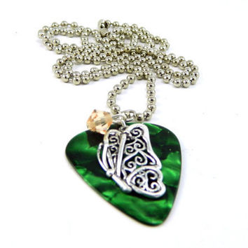 Green Marble Fender Guitar Pick and Sterling by TheCraftyPandaGirl