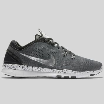 AUGUAU Nike Wmns Free 5.0 TR Fit 5 PRT Black Metallic Silver Cool Grey