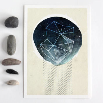 Meteor Shower 5x7 illustrated art print, modern abstract, wall art, mixed media, decor, dark blue, cosmic, digital drawing, geometric, space