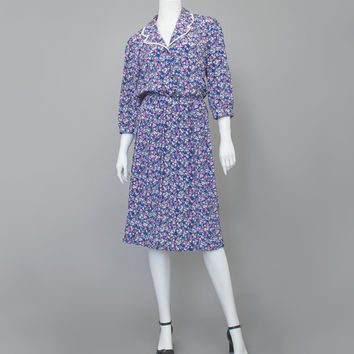 Vintage 80s Secretary Dress / 1980s Blue Teal Purple Ditsy Floral Dress / Lace Collar Crop Sleeve Button Up Pleated Skirt Midi Blouse Dress