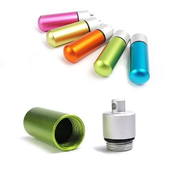 5PCs Rainbow Color Keychain Waterproof Capsule Survive Camp Outdoor Multi - Functional Aluminum Alloy Small Bottle