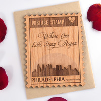 Postage Stamp Valentines Day Mini Card - Love Card with Philadelphia City Skyline - Letters M thru P