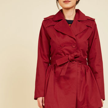 Classic Catch Trench in Red - Short | Mod Retro Vintage Coats | ModCloth.com