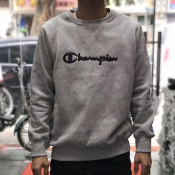Champion Trending Casual Embroider Long Sleeve Round Neck Pullover Sweater Grey G