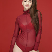 REZY SHEER BODYSUIT - WINE