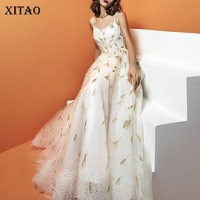 [XITAO] 2018 Europe New Spring Fashion Women Lace Backless V-Neck Strapless Dress Female Embroidery Floor-Length Dress XWW3432