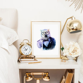 BEAR HIPSTER Watercolor Art Fashion Print Watercolor Animal Hpister Printable Instant Download High Fashion Poster Waterclor BEAR Poster