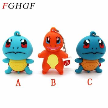 SHANDIAN  Pikachu pendrive 4gb 8gb 16gb 32gb keychain cartoon squirtle charizard usb flash drive pendriver memory stickKawaii Pokemon go  AT_89_9