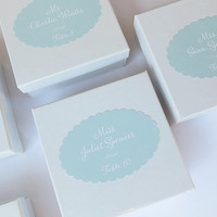 Mint Wedding Place Card Stickers, Printed Escort Card Labels, Favor Seating Cards, Name Favor placecards, Other Colors Available - Set of 20