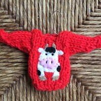Cow Ornament, Miniature Sweater Ornament w Cow Applique, Farmer Gift, Farm Ornament, Cow Lover, Farm Animal, Farm Theme, Country Christmas