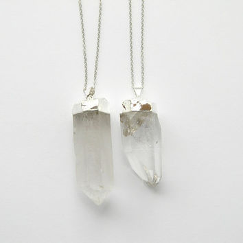 Extra Large Crystal Point Necklace - Quartz Crystal Necklace - Silver Necklace - Bohemian Necklace - Gift - OOAK