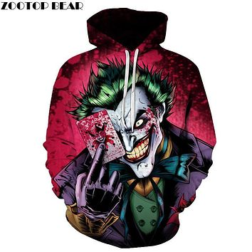 Joker Poker Men Hoodies Sweatshirts 3D Printed Funny Hip HOP Hoodies Novelty Streetwear Hooded Autumn Jackets Mlae Tracksuits