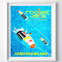 Vintage Disneyland, Poster, Print, Rocket Jets, Disney, Tomorrowland, Fantasyland, Reproduction, Restored, Restoration, Vintage [No 1279]
