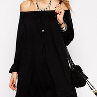 Black Off Shoulder Long Sleeve Mini Dress
