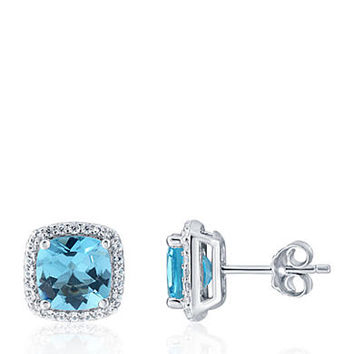 Belk & Co. Topaz and White Sapphire Earrings in Sterling Silver