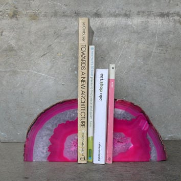 Vintage Agate Geode Bookend in Pink