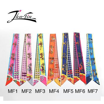Twilly  hot sale new Fashion High-quality  Printed carriage Silk Scarf Small Ribbon  Women headband wrapping printed headwear