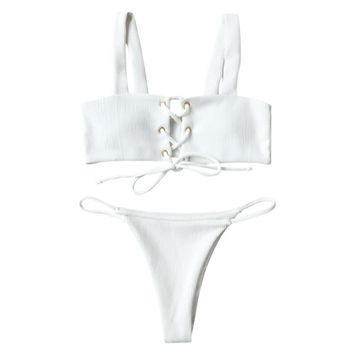 Lace Up Ribbed Bikini Set - White