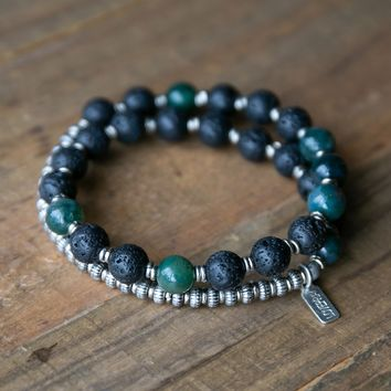 Lava Rock and Moss Agate Men's Wrap Bracelet, Heart Chakra Bracelet