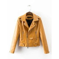 ONETOW MUSTARD YELLOW FAUX LEATHER JACKET