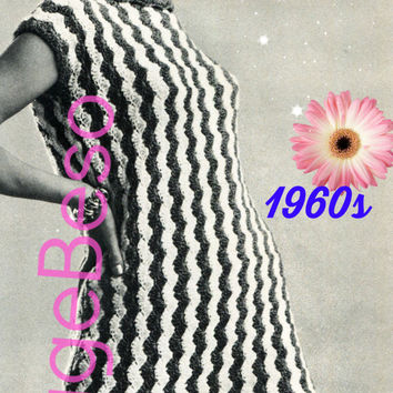 EASY Dress CROCHET PATTERN 1960s Retro Ladies Shell Shift Crochet Pattern Stripe Dress Vacation Dress Instant Download PdF Pattern