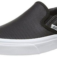 Leather Men Vans Unisex Classic Slip-On? (Perf Leather) Black Men's 8, Women's 9.5 Medium