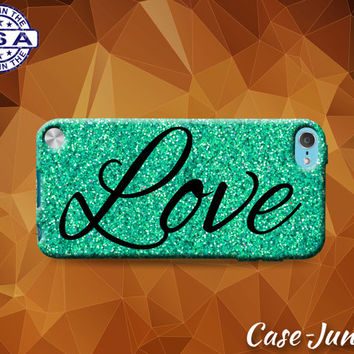 Love Cursive Script Sparkle Glitter Cute Tumblr Inspired Custom Case For iPod Tough 4th Generation Gen And iPod Touch 5th Generation Gen