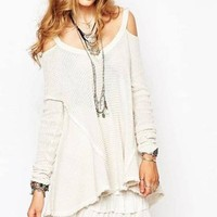 Over the Moon Cold Shoulder Waffle Knit Sweater FINAL SALE!