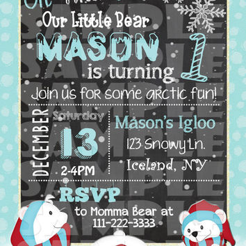 POLAR BEAR INVITATION - Winter Wonderland Invite - Winter Birthday - First Birthday - Christmas Birthday Invite chalkboard boy birthday girl