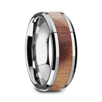 Men's Tungsten Carbide Wedding Band With Olive Wood Inlay Beveled Edges 8mm
