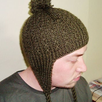 Hand Knitted Hat Mens Hat with Ear Flap Hat in Military Green Pom pom